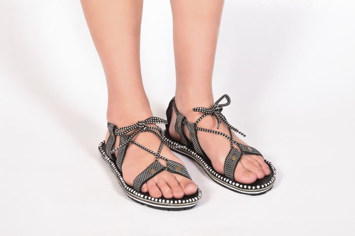 Gladys Gladiator Sandal in Black and White
